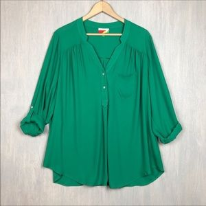 Modcloth Pam Breeze-ly tunic top Green 2X